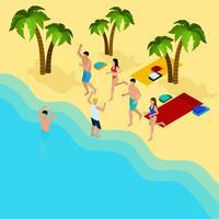 Illustrazione di amici sulla spiaggia