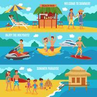 Le persone in spiaggia impostate
