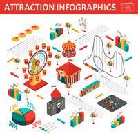 Composizione isometrica infografica attrazioni Parco divertimenti
