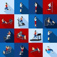 Set piatto di allenamento palestra persone vettore