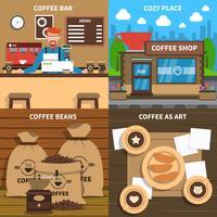 Quadrato piano delle icone di concetto 4 del caffè