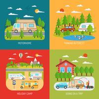 Set di icone di concetto di camper