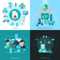 Icone di concetto di assicurazione di affari messe