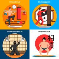 Set di icone di concetto di arti marziali