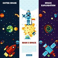 Set di bandiere spaziali vettore