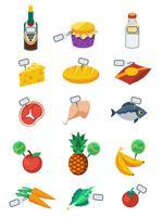 Set di icone di colore piatto supermercato vettore