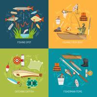 Set di icone di concetto di pesca