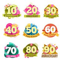 Set di emblemi di anniversario piatta