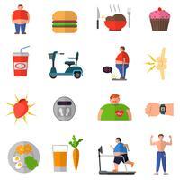Trasformazione dall'obesità allo stile di vita sano vettore