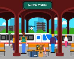 Illustrazione della stazione ferroviaria vettore