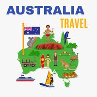 Australia Travel Map Poster