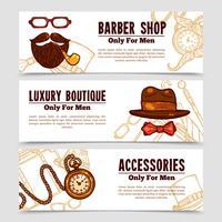 Set vintage Gentleman Vintage Doodle 3 Bannners