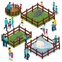 Insegna isometrica dei visitatori delle recinzioni all'aperto dello zoo vettore
