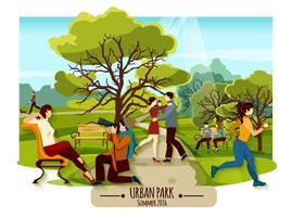 Poster di paesaggi da giardino vettore