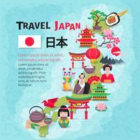 Manifesto del fondo della mappa di viaggio della cultura giapponese