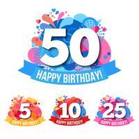 Emblemi di anniversario con le congratulazioni di buon compleanno vettore