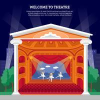 stampa colorata piatta playbill di performance teatrale