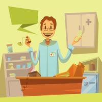 Illustrazione del rappresentante della farmacia vettore