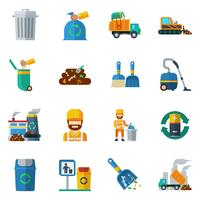 Icone di colore riciclaggio dell'immondizia