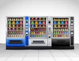 Vista frontale dei distributori automatici realistici vettore
