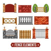 Set di elementi di design di recinzione vettore