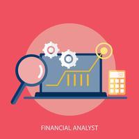 Progettazione concettuale dell'illustrazione dell'analista finanziario vettore