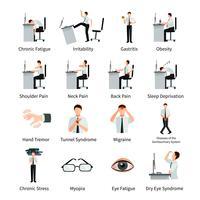 Set di icone piane di sindrome di ufficio