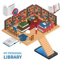 Illustrazione di concetto di biblioteca personale vettore