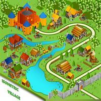 Paesaggio isometrico villaggio medievale vettore
