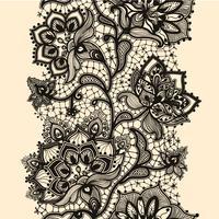 Modello senza cuciture del nastro astratto del pizzo con i fiori degli elementi. Modello di cornice per carta. Centrino di pizzo. vettore