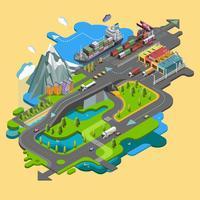 Piatto vettore mappa paesaggio parchi edifici posti a sedere campi sportivi immagine della natura di montagne e laghi