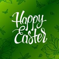 Segno di Pasqua felice, simbolo, logo su uno sfondo verde con i fiori.