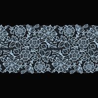 Modello senza cuciture del nastro astratto del pizzo con i fiori degli elementi. vettore