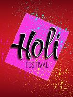 Logo celebrazione Holi con la scritta e vernice spray su di esso. vettore