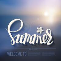 Ciao iscrizione del manifesto di estate su un'immagine di vista sul mare della priorità bassa. vettore