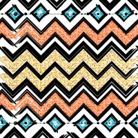 Modelli senza cuciture con blu, nero, oro, linee a zigzag e punti, strisce, scatole regalo e punti.