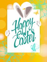 Segno di Pasqua felice, simbolo, logo su uno sfondo giallo con i fiori. vettore