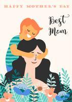 Buona festa della mamma. Illustrazione vettoriale con donna e bambino.