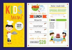 Menu del ristorante per bambini