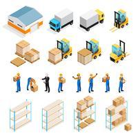 Set isometrico del magazzino vettore