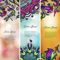 Set di banner floreale in pizzo color vintage per i tuoi disegni. vettore