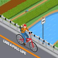 Illustrazione isometrica della persona disabile su bicicletta vettore