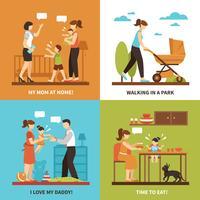 Set di icone di concetto di babysitter vettore