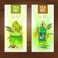 Banner verticale dell'albero del tè vettore