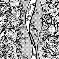 Modello astratto pizzo senza soluzione di continuità con fiori e farfalle. Carta da parati infinitamente, decorazione per il tuo design, lingerie e gioielli. vettore