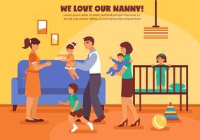 Illustrazione di sfondo Babysitter vettore