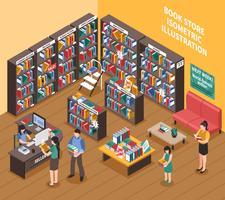 Illustrazione isometrica del negozio di libri