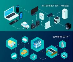 Set di bandiere isometriche Smart City vettore