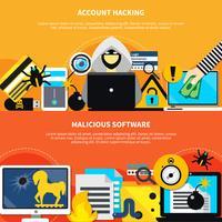 Banners orizzontali di hacking di account e software dannosi