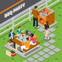 Composizione isometrica del BBQ Party vettore